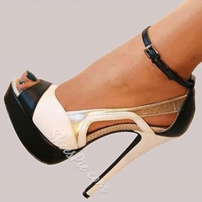 Fashionable Black & White Contrast Color Dress Sandals