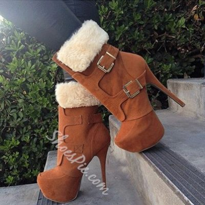 Fashionable Camel Suede Double Buckle High Heel Short Boots