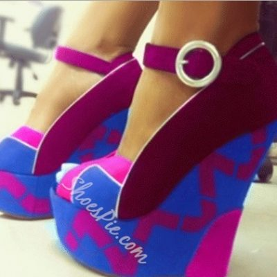 Fashionable Contrast Colour Wedge Heel Sandals