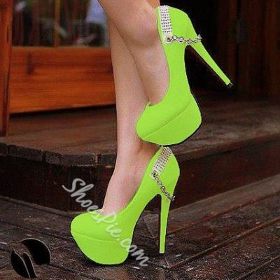 Fashionable Green Platform Heels With Chains