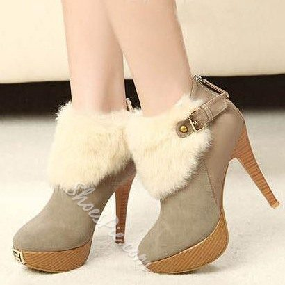 Fashionable Stiletto Heels Platform Ankle Boots with Buckle