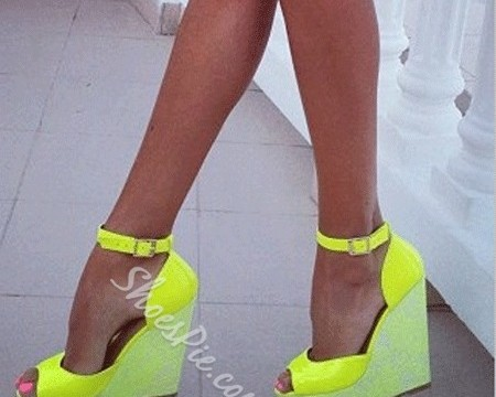 Gorgeous Yellow Ankle Strap Wedge Sandals