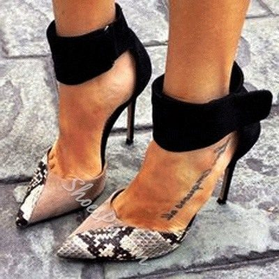 Graceful Snake Skin Ankle Strap Pointed-toe Heels