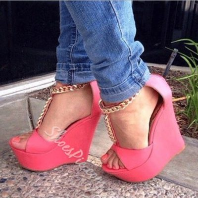 Hottest PU Metal Chain Wedge Sandals