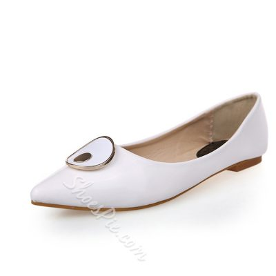 Metal Decorated Solid Color Pointed Toe Flats