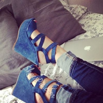 Popular Solid Color Cloth Ankle Strap Wedge Sandals