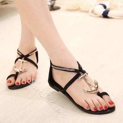 Pretty Metal Anchor Clip-Toe Flat Sandals