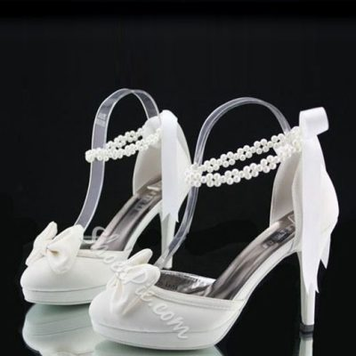 Pretty Satin Beading Ankle Strap Bride Shoes