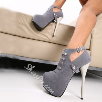 Ravishing Buckle Decorated High Heels Ankle Boots
