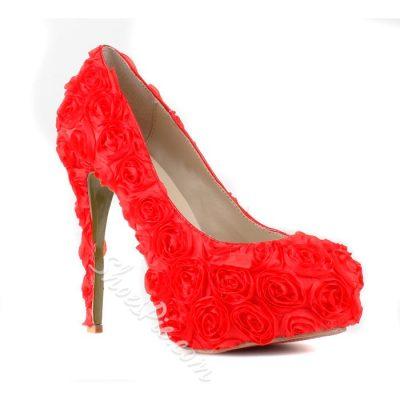 Red Platform Stiletto Heels Round-Toe Prom
