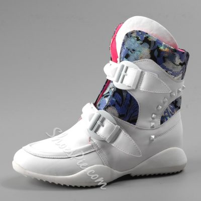 Rivets Decorated Print Patchwork Sneakers