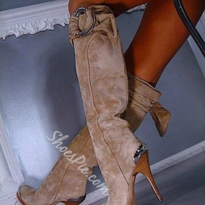 Sexy Buckles Knee High Boots