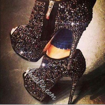 Shining Black Peep-toe Platform Ankle Boots