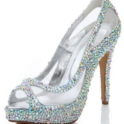 Shining Rhinestone Peep Toe Mesh Stiletto Heels