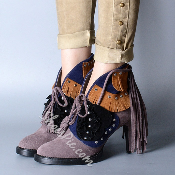 Shoepie Color Block Lace Up Tassel Rivet Ankle Boots