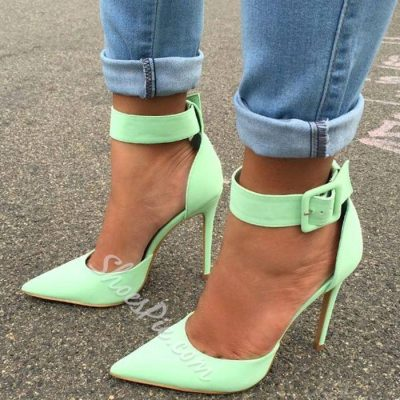 Shoespie Ankle Wrap Candy Color Stiletto Heels
