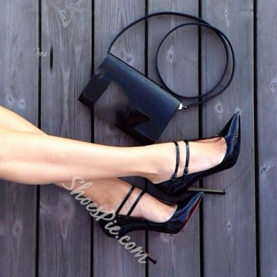 Shoespie Ankle Wrap Plus Size Stiletto Heels