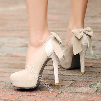 Shoespie Black Bowtie Platform Heels