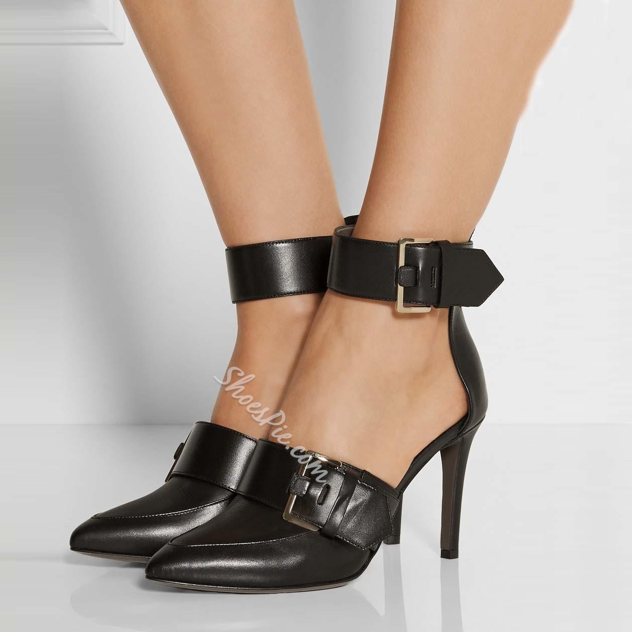 Shoespie Black Buckles Ankle Wrap Stiletto Heels