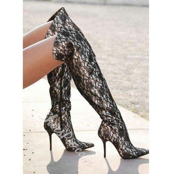 Shoespie Black Lace Insert Stiletto Heel Knee High Boots