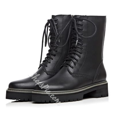 Shoespie Black Lace Up Martin Boots