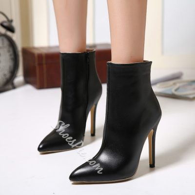 Shoespie Black Zipper Pointed toe Ankle Boots
