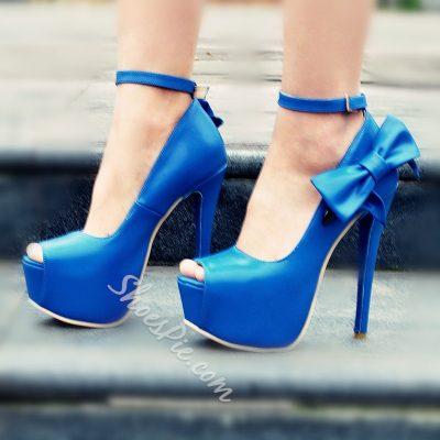 Shoespie Blue Bowtie Peep Toe Platform Heels