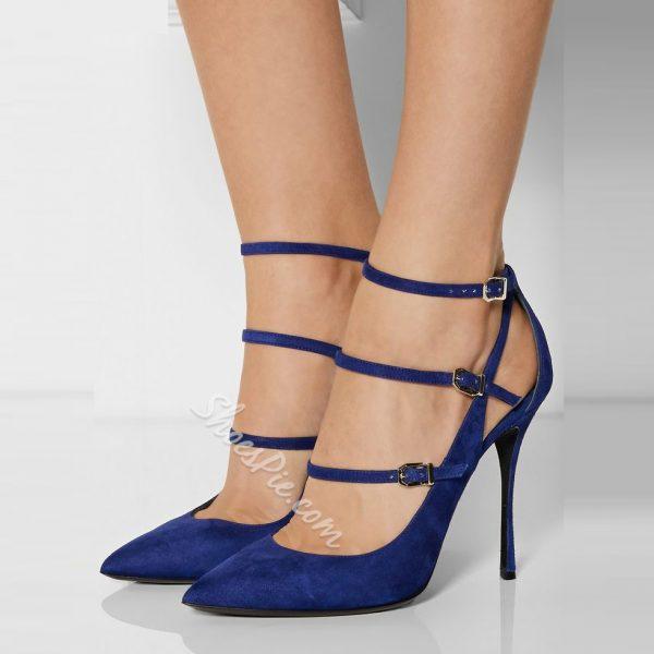 Shoespie Blue Suede Buckle Wrap Stiletto Heels