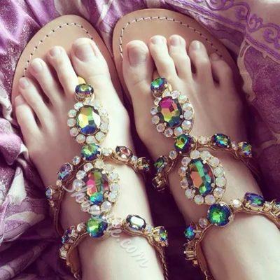 Shoespie Boho Rhinestone Flat Sandals