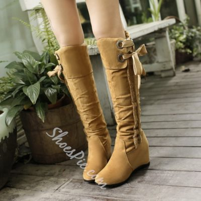 Shoespie Bowtie Flat Knee High Boots