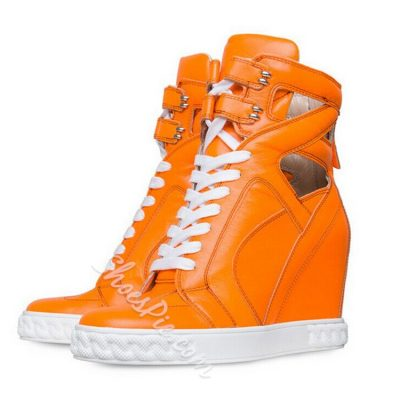 Shoespie Bright Color Cutout Sneakers