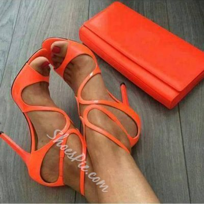 Shoespie Bright Orange Stiletto Dress Sandals