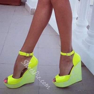 Shoespie Bright Yellow Peep Toe Wedge Sandals
