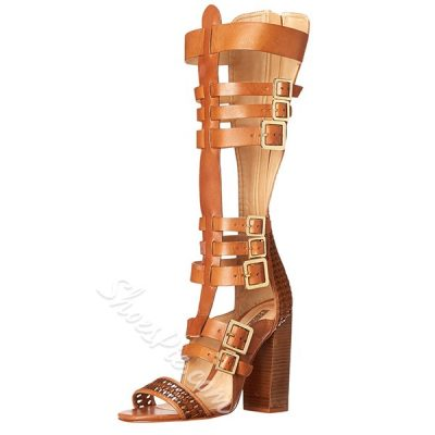 Shoespie Buckles Chunky Heel Gladiator Sandals