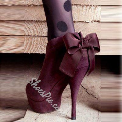 Shoespie Burgundy Back Bowtie Platform Ankle Boots
