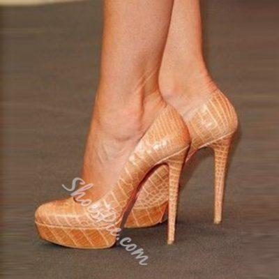 Shoespie Camel Stone Pattern Platform Stiletto Heels