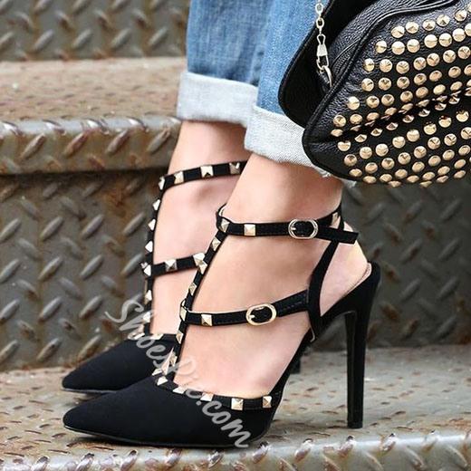 Shoespie Chic Black Rivets Double Ankle Wrap Stiletto Heels