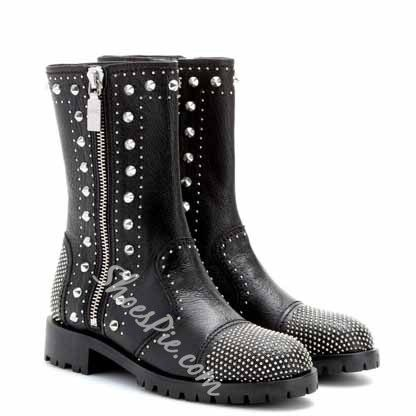 Shoespie Chic Flat Motocycle Boots