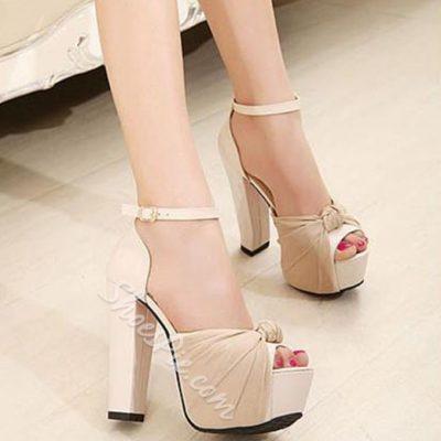 Shoespie Chic Mesh Embellished Peep Toe Chunky Heels