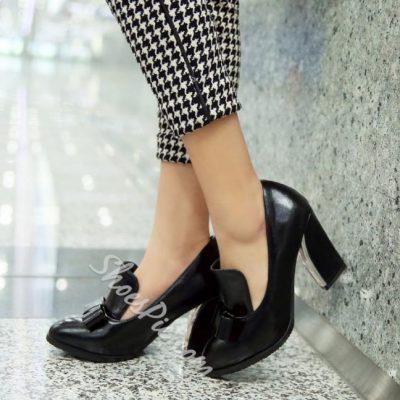 Shoespie Chunky Heel Bowtie Pumps