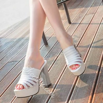 Shoespie Chunky Heel Platform Slippers