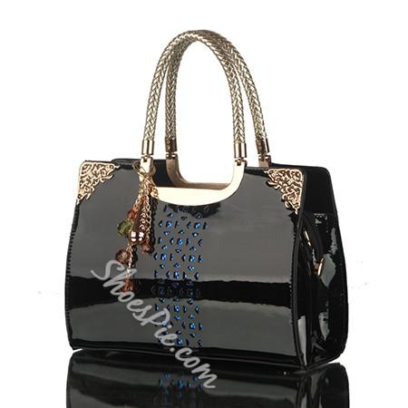 Shoespie Classy Patent Leather Tote Handbag