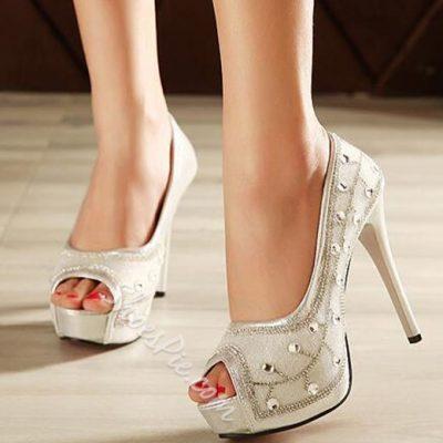 Shoespie Classy Rhinestone Peep Toe Platform Heels