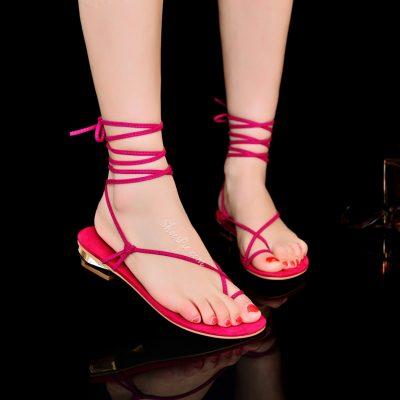 Shoespie Clip Toe Lace Up Flat Sandals