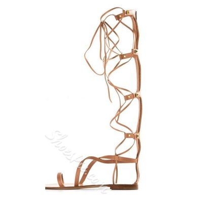 Shoespie Clip Tone Lace Up Knee High Gladiator Sandals