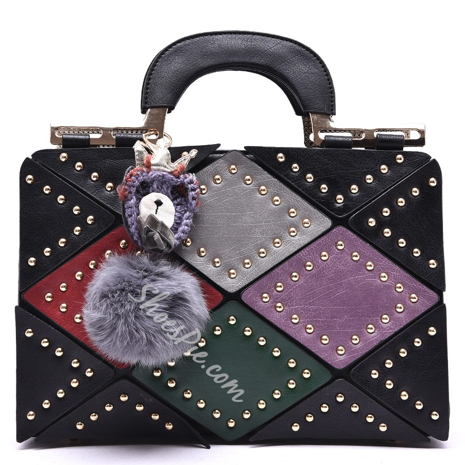 Shoespie Color Block Pompom Accented Tote