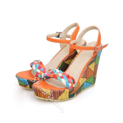 Shoespie Color Block Straw Wedge Sandals