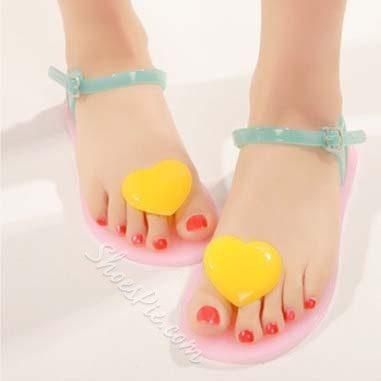 Shoespie Color Heart Shape Flat Sandals