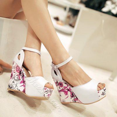 Shoespie Color Patchwork Wedge Sandal