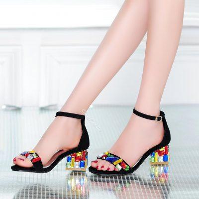 Shoespie Color Rhinestone Flat Sandals
